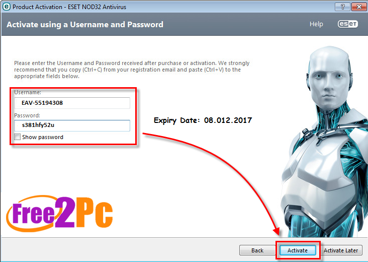 activation key eset nod32 antivirus 8 gratis