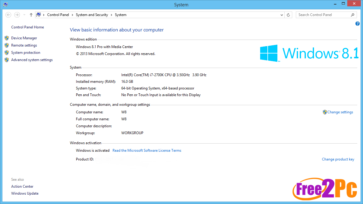 product key for windows 8 pro with media center 32 bit