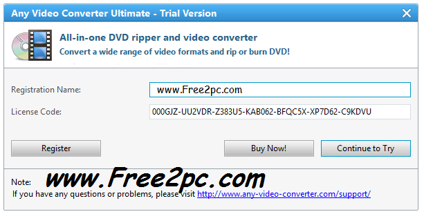 any video converter registration code
